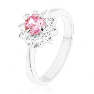 Lesklý prsten se zirkonovým kvítkem v růžové a čiré barvě, zúžená ramena V12.14