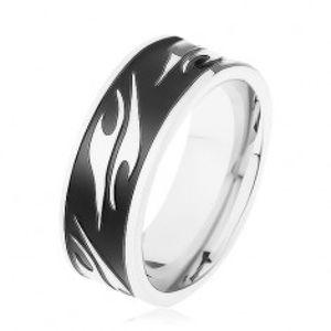 Lesklý prsten z chirurgické oceli, černý pás zdobený motivem tribal HH6.14