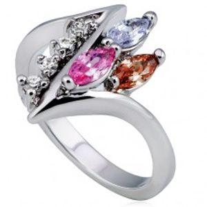 Lesklý prsten, ostrá zatočená linie s čirými a barevnými zirkony L10.04
