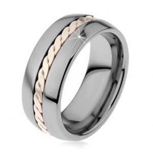 Lesklý prsten z wolframu s pleteným vzorem stříbrné barvy, 8 mm H7.12