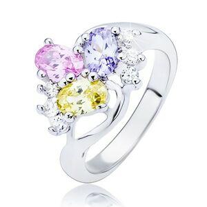 Lesklý prsten - zvlněná linie a barevné oválné zirkony - Velikost: 57