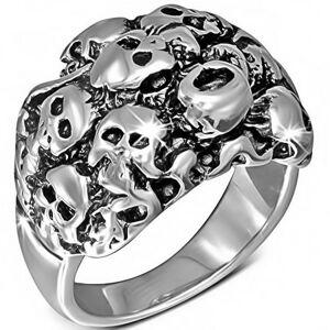 Lesklý stříbrný ocelový prsten - shluk lebek - Velikost: 59