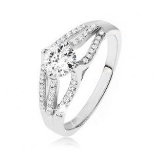 Blyštivý prsten - stříbro 925, velký kulatý zirkon, tři pruhy čirých kamínků SP50.02