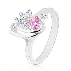 Blýskavý prsten, asymetrická kapka zdobená zirkony čiré a růžové barvy G15.12
