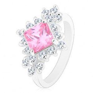 Blýskavý prsten, růžový zirkonový čtverec lemovaný kulatými čirými zirkony R42.20