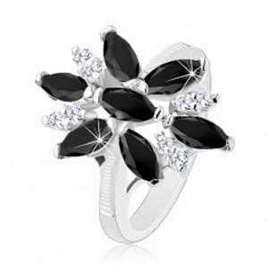 Blýskavý prsten stříbrné barvy, černo-čirý zirkonový květ, lesklá ramena R33.18