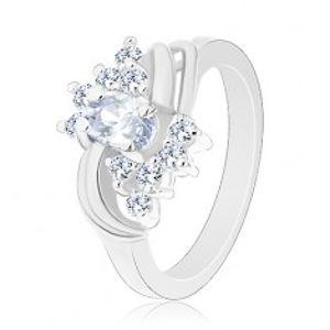 Blýskavý prsten ve stříbrné barvě a s čirými zirkony, hladké páry oblouků V02.01