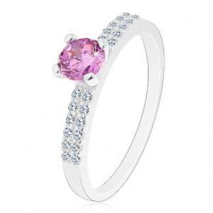 Blýskavý prsten ze stříbra 925, kulatý zirkon ve fialovém odstínu, dvojitá linie J03.05