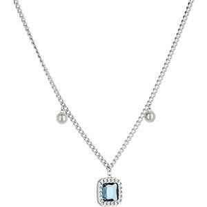 Liu.Jo Dvojitý ocelový náhrdelník s modrým krystalem LJ1278
