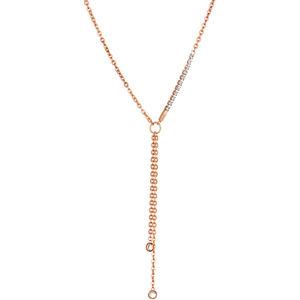 Liu.Jo Růžově pozlacený ocelový náhrdelník LJ1326