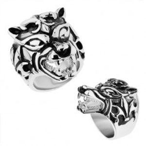 Masivní prsten z oceli 316L, vypouklý patinovaný vlk, Fleur de Lis Z39.13/14