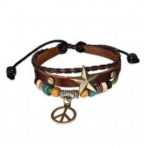 Multi náramek - pás s hvězdou, pletenec, šňůrka a symbol míru S14.11