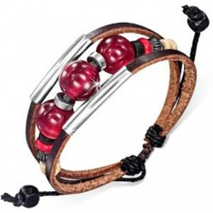 Multináramek - dva čokoládové pásy kůže, šňůrka, rourky, bordó kuličky S43.02