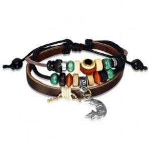 Multináramek - kožený pás, šňůrky, dřevěné a kovové korálky, měsíček S42.22