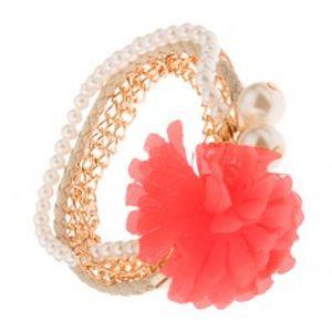 Multináramek - zlaté řetízky, béžový pletenec, korálky, lososová květina S40.30