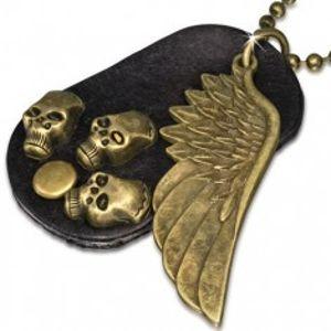 Náhrdelník - hnědá kožená oválná známka, křídlo, lebky, řetízek S42.17
