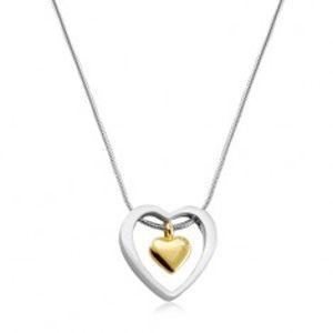 Náhrdelník z chirurgické oceli, srdíčko zlaté barvy v obrysu srdce S05.05