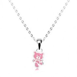 Náhrdelník ze stříbra 925 - medvídek zdobený růžovou glazurou, lesklý řetízek V09.29