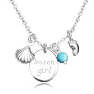 """Náhrdelník ze stříbra 925 - ovál s nápisem """"beach girl"""", stopa, mušle a kulička R37.31"""