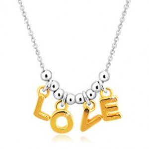"""Náhrdelník ze stříbra 925 - řetízek, písmena """"L-O-V-E"""" ve zlatém odstínu a kuličky AC24.23"""