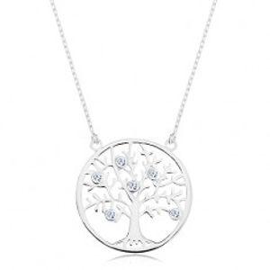 Náhrdelník ze stříbra 925, řetízek a přívěsek - strom života zdobený zirkony AC16.08