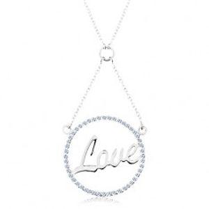 Náhrdelník ze stříbra 925, řetízek a přívěsek - zirkonový kroužek, nápis Love AC16.06