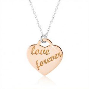 """Náhrdelník ze stříbra 925, srdce měděné barvy, nápis """"love forever"""" SP45.18"""
