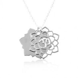 Náhrdelník ze stříbra 925, velký vyřezávaný květ, symbol Óm SP87.17