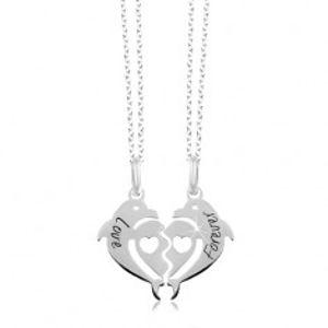 Náhrdelníky ze stříbra 925 - rozpůlené srdce ze dvou delfínů, Love Forever SP25.09