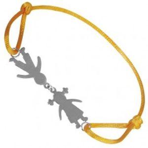Náramek ze stříbra - chlapec a děvče na žluté šňůrce, spojení u hlav T20.13