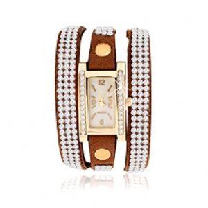 Náramkové hodinky, úzký hnědý řemínek, průhledné zirkonky X36.7