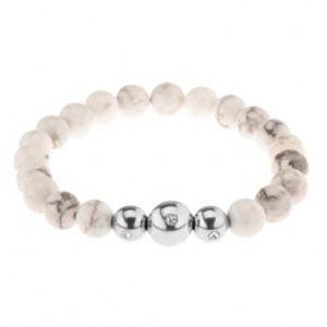Náramek na ruku, bílo-šedé mramorové kuličky, ocelové korálky se zirkonem Z41.11
