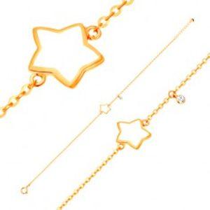 Náramek ve žlutém 14K zlatě, přívěsky - hvězda s bílou glazurou, zirkon GG136.30