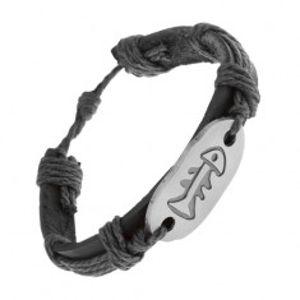 Náramek z černé umělé kůže a šňůrek, ocelová známka, rybí kost Z17.03