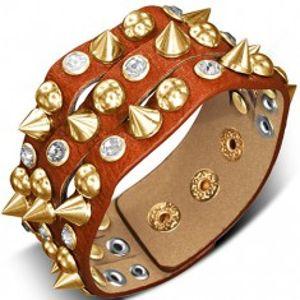 Náramek z kůže - oranžovohnědý s hrotem, polokoulí a kamenem X37.15