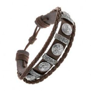 Náramek z tmavě hnědé umělé kůže, ocelové ovály a kruhy s lebkami Y48.19