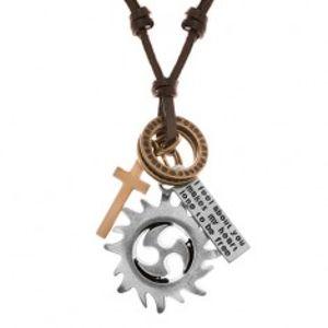 Nastavitelný kožený náhrdelník, přívěsky - kruh tribal, kruhy, kříž a známka Y40.15