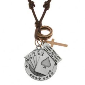 Nastavitelný kožený náhrdelník, přívěsky - piková postupka, kříž, známka Y37.17