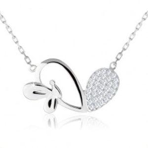 Nastavitelný náhrdelník, asymetrické srdce, lesklý motýlek, stříbro 925 SP61.05