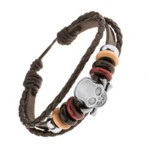 Nastavitelný náramek z pásů umělé kůže, korálky, ocelová lebka s kostmi Y44.08