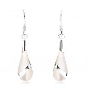 Náušnice - stříbro 925, perleťová slza, stříbrný proužek, africké háčky SP93.02