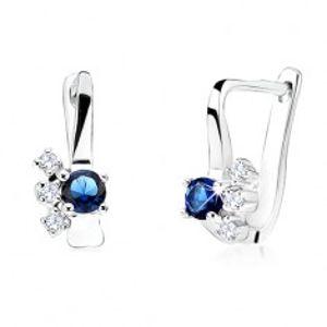 Náušnice s kulatým tmavě modrým zirkonem, čiré zirkonky, stříbro 925 SP26.12