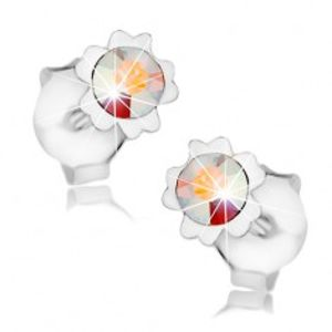 Náušnice, stříbro 925, duhový krystal Swarovski, květ, dvojice lupínků I36.29