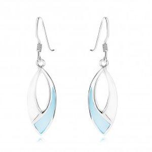 Náušnice, stříbro 925, souměrné zrnko s výřezem, modrá perleť, afro háček SP90.09