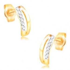 Náušnice ve 14K zlatě - dva úzké oblouky, pás drobných zirkonů GG210.33