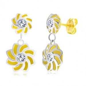Náušnice ve 14K zlatě - dvoubarevné květy se zatočenými lupínky a zirkonem GG21.40