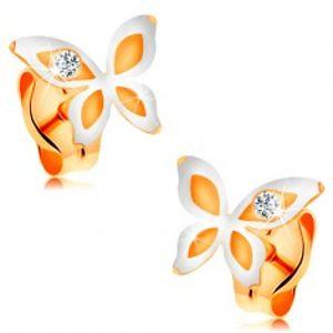Náušnice ve 14K zlatě - dvoubarevný motýlek s kulatým čirým zirkonkem GG165.09