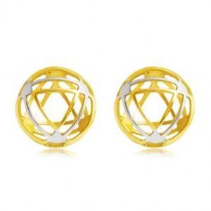 Náušnice ve 14K zlatě - kruh s tenkými obrysy trojúhelníků GG20.26