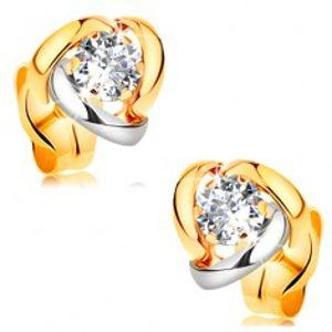 Náušnice ve 14K zlatě - zářivý čirý briliant lemovaný dvoubarevnými oblouky BT177.31