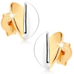 Náušnice v 9K zlatě - vypouklé lístečky, zlatý a stříbrný odstín, rhodiované GG75.06